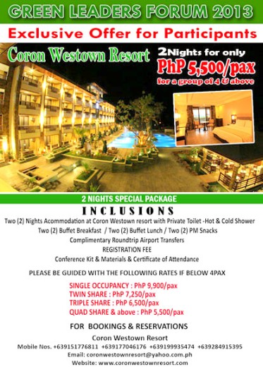 Avail of exclusive Green Leaders Conference Workshop package by Coron Westown! Register now.