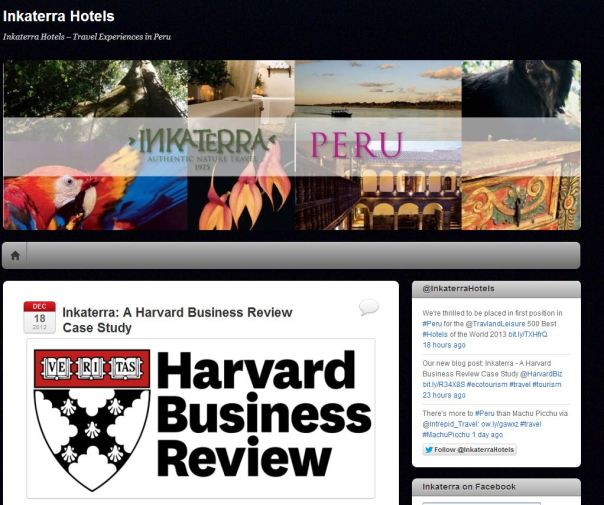 Inkaterra is included in the Harvard Business Case Study for Sustainable Tourism