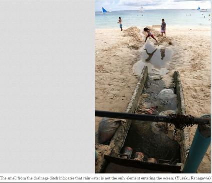 Boracay Island Drainage on White Beach. Photo Via The Asahi Shimbun.