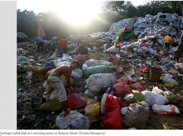 Boracay Island Garbage. Photo via The Asahi Shimbun