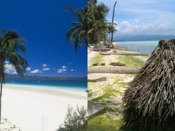 Boracay White Beach: Then and Now. Photo Credits: Left, Rene Thalmann; Right, Elena Brugger.