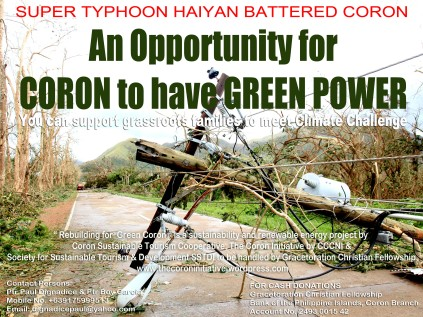 Super Typhoon Haiyan devastated Coron. An opportunity to switch to Renewable Energy.