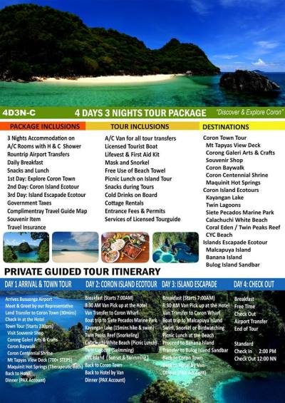 Suggested Itinerary: 4 Days & 3 Nights minimum.