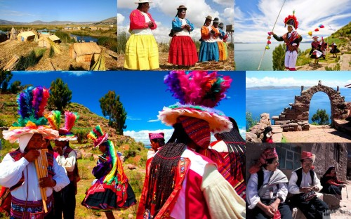Multi-civilizations - conserved cultural scenes from Lake Titicaca, world's highest navigable lake at 3,800 meters (17,000 feet) above sea level.