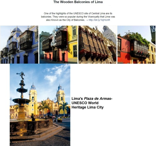 Lima's city center - UNESCO World Heritage Site -highlights include balconies & the Plaza de Armas.