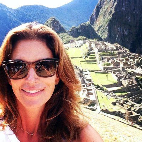 Cindy Crawford selfie in Machu Picchu, photo via her Instagram.
